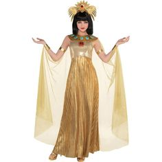 Adult Golden Cleopatra Costume includes dress, headpiece, and collar with attached cape. You're the queen in this Cleopatra costume. Pirate Costume Couple, Cowgirl Costume, Pirate Halloween Costumes, Couple Halloween Costumes For Adults, Adult Costumes, Costumes For Women, Mummy Costumes, Woman Costumes, Couple Costumes