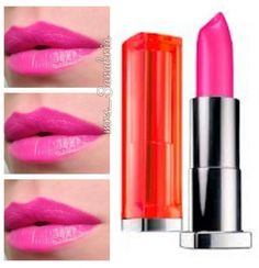 Maybelline Vivid Lipstick Fuschia Flash-This one is soo bright, it almost doesn't look like it belongs on my face.  J/K!!!