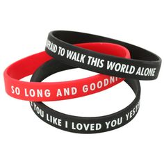 My Chemical Romance So Long And Goodnight Rubber Bracelet 3 Pack | Hot... (44 MYR) ❤ liked on Polyvore featuring jewelry, bracelets, rubber bracelet, bracelet jewelry, long jewelry, rubber jewelry and bracelet bangle