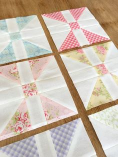Carried Away Quilting sews the Diamond Pane blocks for the Patchwork Quilt Along with Fat Quarter Shop. (Fabric: Fleurs ~ Brenda Riddle for Moda)