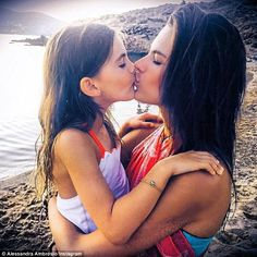 Her love: Earlier this week, the 34-year-old posted a snapshot while giving Anja a kiss...