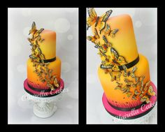 """2 tier """"Sunset Buttefly"""" Cake by Clairella Cakes"""