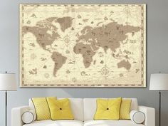 World map canvas poster modern art print world map for home or world map canvas art framed print world map for home or office decoration old world map canvas poster sciox Gallery