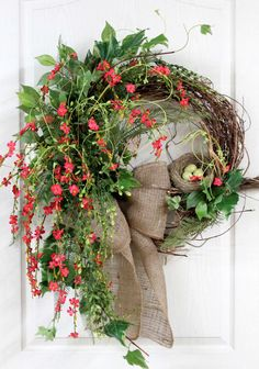 awesome Primitive Country Hanging, Front Door Swag, Beautiful Wildflowers, Burlap Bow, N. Wreath Crafts, Diy Wreath, Grapevine Wreath, Wreath Ideas, Wreaths For Front Door, Door Wreaths, Easter Wreaths, Christmas Wreaths, Country Wreaths
