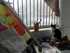 Pop Art Fredo Lima: Pintura em execução, com meu ajudante do lado, que...