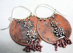 Bead Show: Bead Show Workshops & Classes: Friday June Copper Tribal Earrings Metal Jewelry Handmade, Enamel Jewelry, Copper Jewelry, Handmade Silver, Earrings Handmade, Jewelry Crafts, Jewelry Art, Jewelry Design, Beaded Earrings