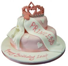 2 Tier Princess Tiara Birthday Cake | 2 Tier Princess Birthday Cakes | 2 Tier Princess 1st Birthday Cake