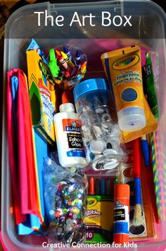 Having a box of art supplies on hand and ready for play enhances creativity in children…and adults.