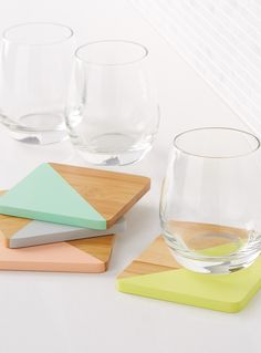 Pastel angle coasters Set of 4   Danica   Shop Decorative Trivets & Drink Coasters Online in Canada   Simons
