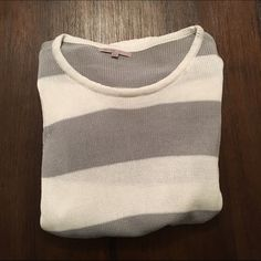 GAP Sweater Blue and white striped sweater from GAP. Sleeves are 3/4 length and are cuffed at the ends. 100% cotton, no snags and is good condition. GAP Sweaters Crew & Scoop Necks