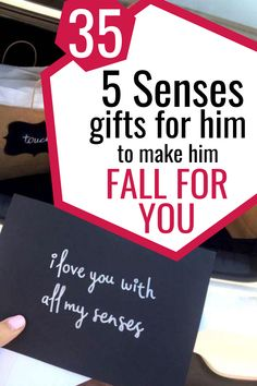 5 Senses Gift for him. Thoughtful Valentine's Day, Birthday, or Anniversary gift for him or her. Includes 5 Senses Printable gift tags, cards