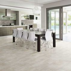 Light Gray Sheer Glow Wood Look Tile Floor For Kitchen