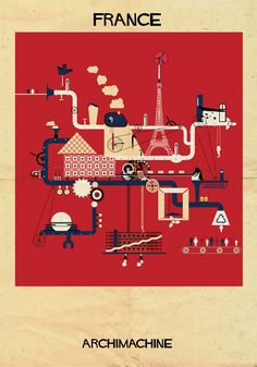 ARCHIMACHINE: 17 Countries Illustrated as Architectural Machines by Federico Babina
