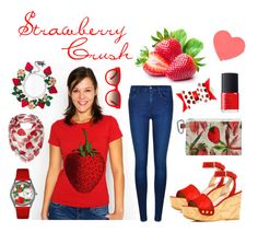 """Strawberry Crush"" by winkinbitsy ❤ liked on Polyvore featuring Calvin Klein, Stuart Weitzman, NARS Cosmetics, Equipment, Whimsical Watches and Dickins & Jones"