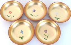 Unique Shallow Floral And Gold Bowl Set http://www.thesecondhandplanet.com #Unique #Shallowbowl  #Floral #Gold #BowlSet #purple #blue #white