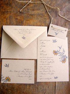 Vintage Wedding Invitation Floral Whimsy Wedding by BirchandBliss, $3.75