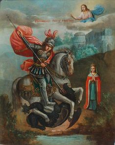 Saint George And The Dragon, Holy Holy, Byzantine Icons, Berserk, St Michael, Monster, Stamp, Christian, Paper
