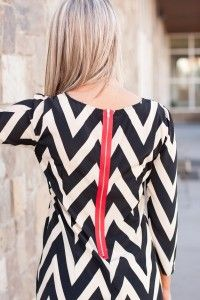 #Chevron dress with red exposed #zipper -- what a fun accent!