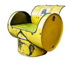 JCB Oil Drum Yellow Armchair by Faye Vermaak. Would be very cool in the race car garage.