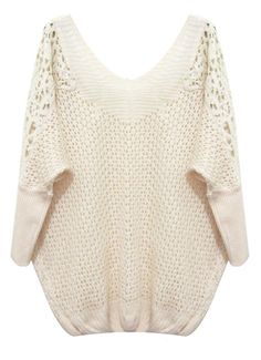 Beige Batwing Sleeve Contrast Lace Shoulders Sweater US$22.82