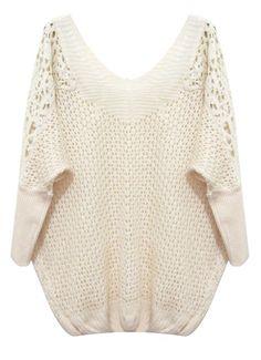 Beige Batwing Sleeve Contrast Lace Shoulders Sweater EUR€16.77