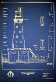 """Vintage Michigan Lighthouse Rock of Ages 1908 Blueprint Drawing 16""""x20"""" 296 