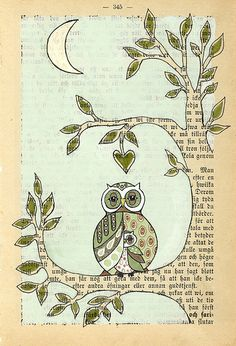 owl art on an old book page.