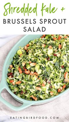Shredded Kale and Brussels Sprout Salad // This shredded kale and brussels sprout salad is the perfect salad for your holiday meal! It's filled with cranberries, marinated onions, almonds and pecorino cheese. salad Shredded Kale and Brussels Sprout Salad Kale Salad Recipes, Sprout Recipes, Vegetarian Recipes, Healthy Recipes, Easter Vegetable Recipes Healthy, Kale Salads, Jello Salads, Fruit Salads, Gourmet