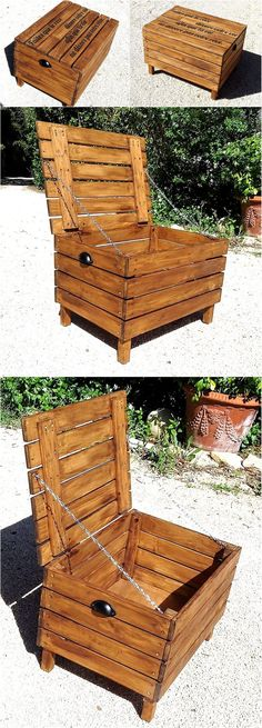 wood pallet chest cum table, store pellet bags next to couch Pallet Crafts, Diy Pallet Projects, Wood Crafts, Woodworking Projects, Old Pallets, Wooden Pallets, Wooden Toy Chest, Pallet Chest, Pallet Building