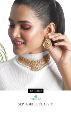 This choker will give a long and slender look to your neckline with its white-red cz stones Styling Tip: Balance this out with a heavy Tarinika waistband for the perfect Tarinika queen look Indian Jewellery Online, Indian Jewelry, Gold Jewellery Design, Gold Jewelry, Antique Plates, Cz Stones, Summer Jewelry, How To Look Classy, Girl Face