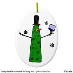 Funny Pickle Snowman Holding Pickleball Paddle Double-Sided Oval Ceramic Christmas Ornament