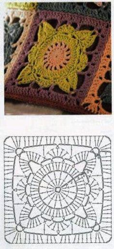 """I'm 99% sure this is a pattern diagram for Jan Eaton's """"Willow"""" block.  #crochet #square #motif"""