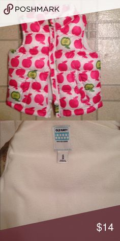 Old navy puffer vest with apples Old navy puffer vest with adorable apples on it size 2 T smoke-free pet free home Old Navy Jackets & Coats Vests