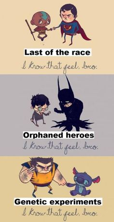 Aang and superman, batman and harry, wolverine and stitch Dc Memes, Marvel Memes, Funny Memes, Funny Pics, Marvel Dc, Univers Dc, Comic Manga, Fandom Crossover, Fandoms