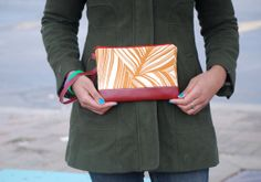 Leaf Print Handmade Zippered Pouch with strap by BrandEShop, $25.00