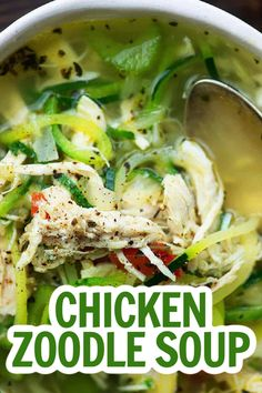 Low Carb Chicken zoodle soup is so warm and comforting! We serve it all fall and winter and my kids gobble it up! It also reheats really well and makes a perfect lunch.  #chickenzoodlesoup #lowcarbsoup Low Carb Chicken Soup, Chicken Zoodle Soup, Keto Chicken, Chicken Recipes, Best Soup Recipes, Lunch Recipes, Healthy Recipes, Keto Recipes, Keto Pancakes Coconut Flour