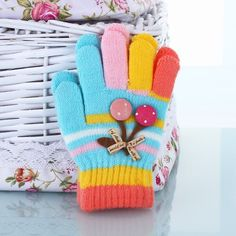 Wholesale Children's Knitted Checked Five Colors Finger Gloves, View Five Colors…