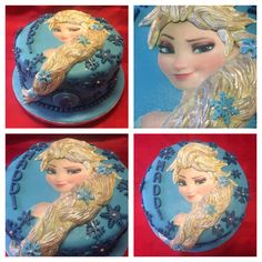 Frozen Elsa Head Cake. I did this one using fondant for the hair. What a fun cake to do and a challenge, loved the finish on it. Made by me Elena Purton.