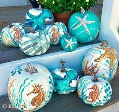 Painted Pumpkins with a Coastal, Beach & Nautical Theme - Coastal Decor Ideas Interior Design DIY Shopping Theme Halloween, Halloween Pumpkins, Fall Halloween, Halloween Crafts, Happy Halloween, Fall Crafts, Holiday Crafts, Holiday Fun, Holiday Decor