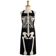 Skeleton Printed Chef's Apron, Black