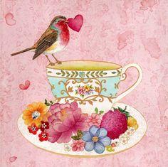 Sweetheart bird perched on a tea cup: Chris Chun Tee Kunst, Desenho Pop Art, Cuppa Tea, Tea Art, My Cup Of Tea, Bird Art, Bird Feathers, Tea Time, Coffee Time