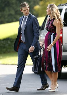 Eric Trump couldn't keep his eyes off his wife Lara and her baby bump as they walked across the South Lawn of the White House on Thursday Trump Kids, Eric Trump, Donald Trump, Trump Children, Ivanka Trump Style, New President, First Lady Melania, Maternity Fashion, Shopping