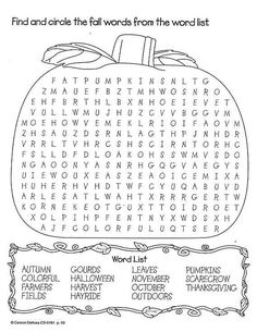 Fall Wordsearch