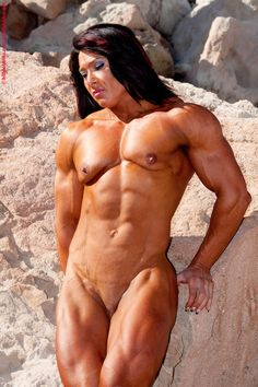 Curious Naked female muscle girl nude think