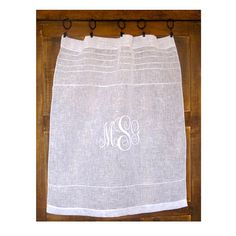 Pretty linen sheer cafe curtain. Ideal for classic window dressing with french and European styling. Monogramed version!