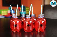 neat idea for kids drinks for spiderman party