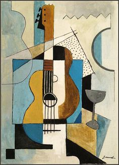 christmas gift Original cubist abstract canvas painitng Guitar signed Ologeanu  #Abstract