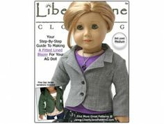 American Girl doll clothes pattern Lined Fitted Blazer Jacket   Liberty Jane Doll Clothes Patterns For American Girl Dolls - $3.99 for pattern
