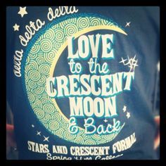 Love to the crescent moon and back.     would definitely love this on a shirt.