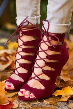 "As Seen On McKenna of Mckennableu blog! It's always amazing when all the pieces fall into place and create a beautiful masterpiece like the Chinese Laundry Jigsaw Syrah Suede Lace-Up Heels! A peep toe starts these cute burgundy faux suede heels off right, and transitions into rounded laces weaving through a caged upper. Collar ends above the ankle, and secures with a 3"" silver heel zipper. 4.5"" tall stiletto heel (including tip). Cushioned insole. Felted rubber sole has nonskid ..."